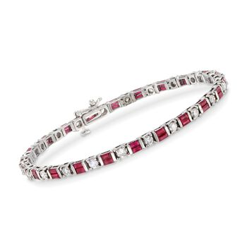"""3.40 ct. t.w. Ruby and 1.55 ct. t.w. Diamond Bracelet in 14kt White Gold. 7"""", , default"""