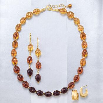 """Italian 18kt Gold Over Sterling Silver U-Shaped Huggie Hoop Earrings. 5/8"""", , default"""