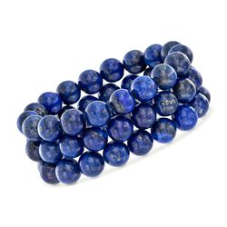 "Blue Lapis Bead Set: Three Stretch Bracelets. 7.25"", , default"