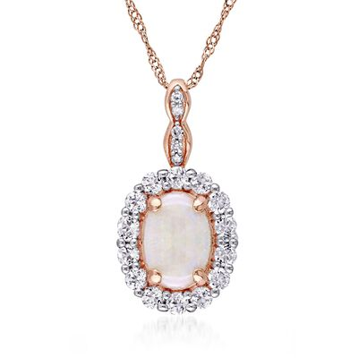 Opal and .60 ct. t.w. White Topaz Pendant Necklace with Diamonds in 14kt Rose Gold