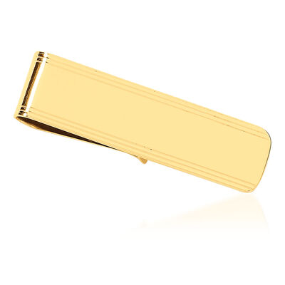14kt Yellow Gold Polished Grooved Engravable Money Clip, , default