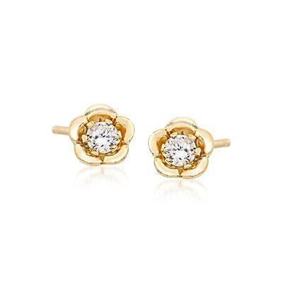 Child's .10 ct. t.w. CZ Stud Earrings in 14kt Yellow Gold