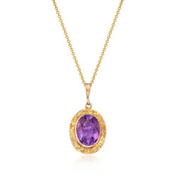 C. 1960 Vintage 4.30 Oval Amethyst Pendant Necklace in 10kt Yellow Gold With 14kt Yellow Gold Chain, , default