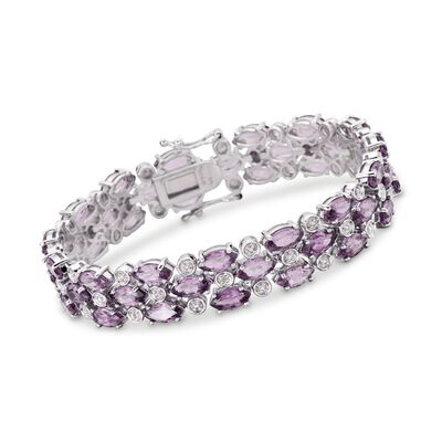 17.50 ct. t.w. Amethyst Bracelet with Diamond Accents in Sterling Silver, , default