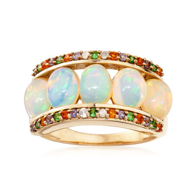Opal and .28 ct. t.w. Multi-Stone Ring in 14kt Gold Over Sterling, , default