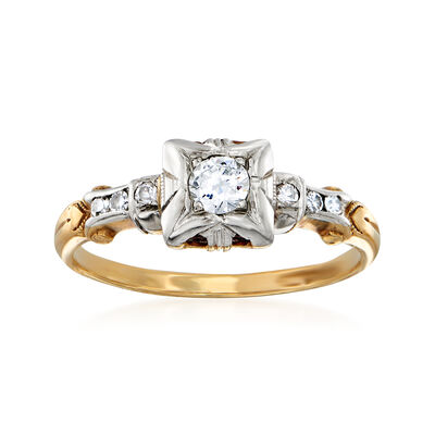 C. 1940 Vintage .21 ct. t.w. Diamond Ring in 14kt Yellow Gold, , default