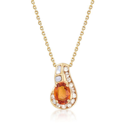 Mother-Of-Pearl and 1.10 ct. t.w. Multicolored Sapphire Pendant Necklace in 14kt Yellow Gold, , default