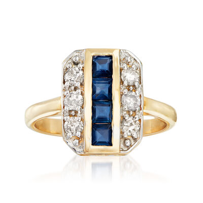.70 ct. t.w. Sapphire and .39 ct. t.w. Diamond Two-Row Ring in 14kt Yellow Gold
