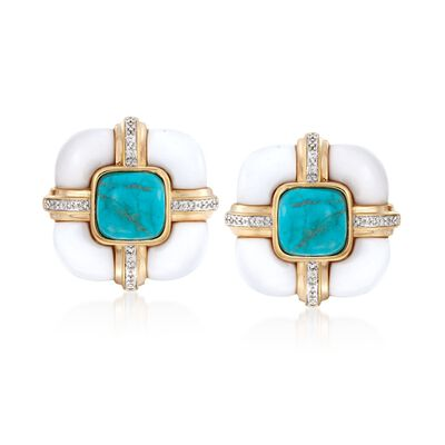 White Agate and Turquoise Earrings with .10 ct. t.w. Diamonds in 18kt Yellow Gold Over Sterling