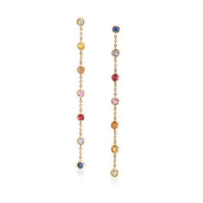 .70 ct. t.w. Multicolored Sapphire Drop Earrings in 14kt Yellow Gold