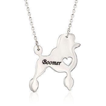 """Sterling Silver Poodle Dog Name Necklace. 18.5"""", , default"""