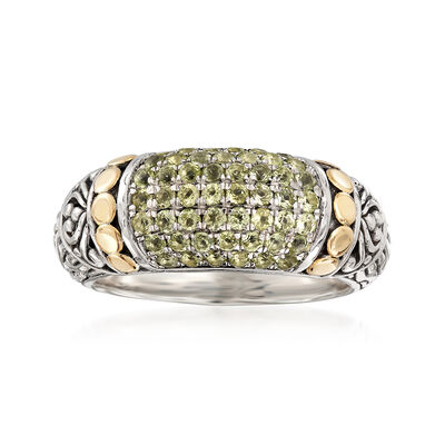 .70 ct. t.w. Pave Peridot Ring in Two-Tone Sterling Silver, , default