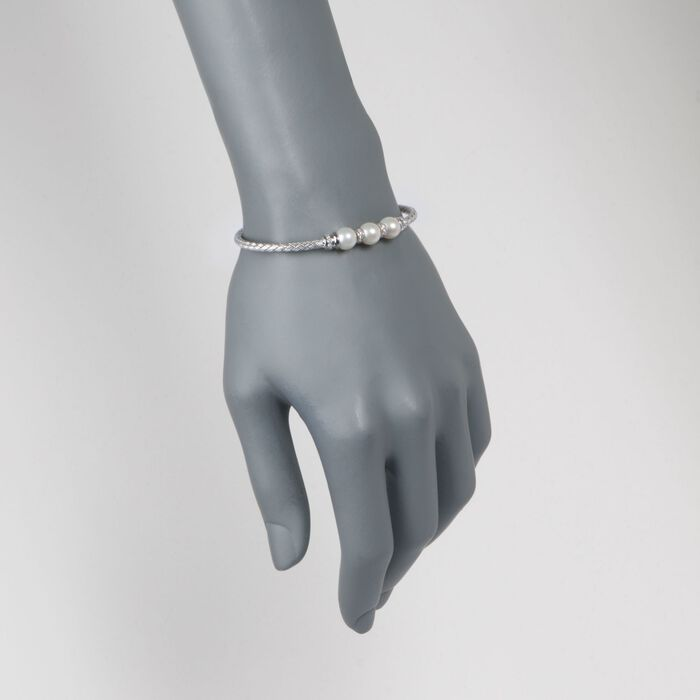 """Charles Garnier """"Gianna"""" 7-7.5mm Cultured Pearl and .30 ct. t.w. CZ Cuff Bracelet in Sterling Silver"""