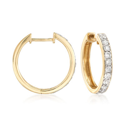 .50 ct. t.w. Diamond Hoop Earrings in 14kt Yellow Gold, , default