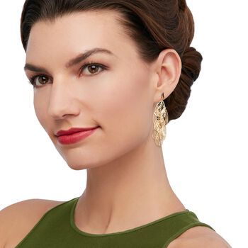 Italian 18kt Yellow Gold Open Diamond-Cut Chandelier Earrings, , default