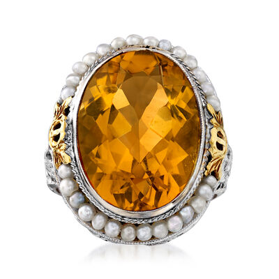 C. 1950 Vintage Cultured Pearl and 10.00 Carat Orange Citrine Ring in 14kt White Gold, , default