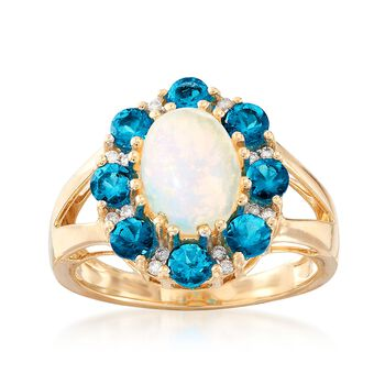 1.00 ct. t.w. Apatite and Opal Ring With Diamond Accents in 14kt Yellow Gold, , default