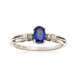 C. 1990 Vintage .55 Carat Sapphire Ring With Diamond Accents in 10kt Yellow Gold, , default