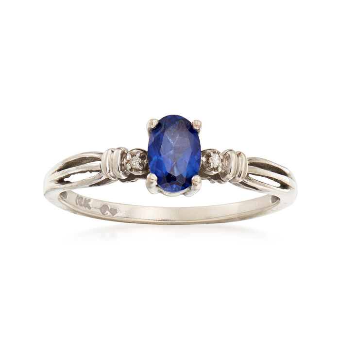 C. 1990 Vintage .55 Carat Sapphire Ring with Diamond Accents in 10kt Yellow Gold. Size 7, , default