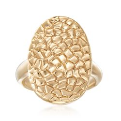 14kt Yellow Gold Snakeskin-Textured Oval Ring. Size 5, , default