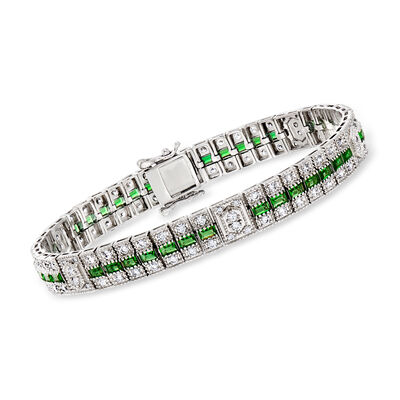 3.80 ct. t.w. Simulated Emerald and 1.80 ct. t.w. CZ Bracelet in Sterling Silver