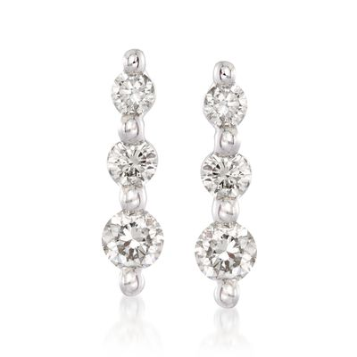 .25 ct. t.w. Graduated Diamond Drop Earrings in 14kt White Gold