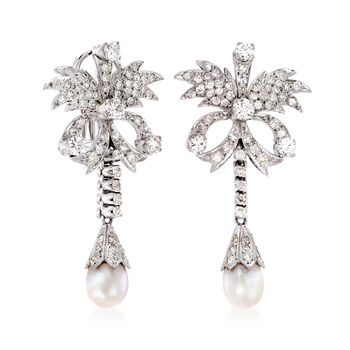 C. 1980 Vintage Cultured Pearl and 2.60 ct. t.w. Diamond Floral Drop Earrings in Sterling Silver , , default