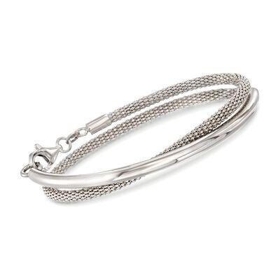 Italian Sterling Silver Wrap Bracelet, , default