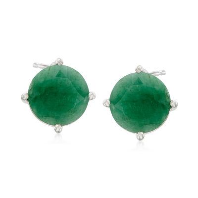 4.00 ct. t.w. Emerald Stud Earrings in Sterling Silver