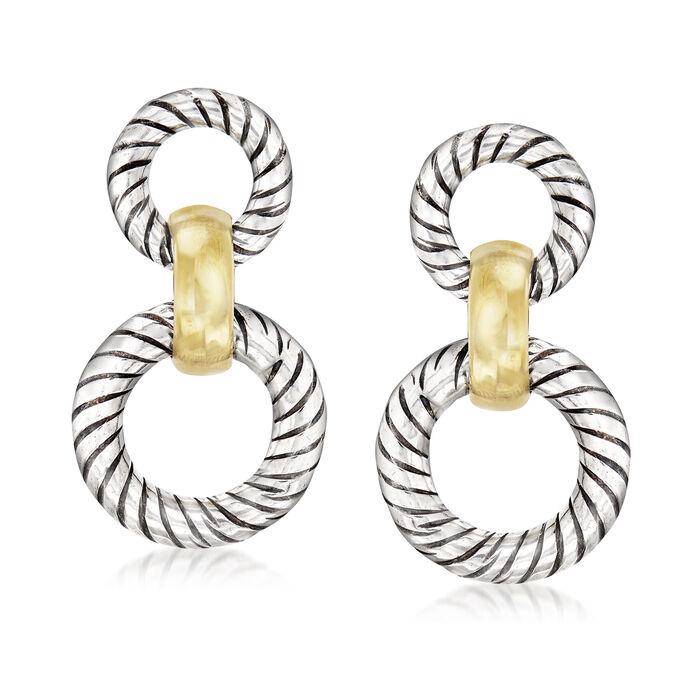 Italian 18kt Yellow Gold Over Sterling Silver and Sterling Silver Doorknocker Drop Earrings