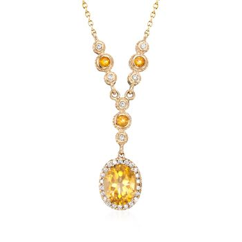 "2.75 ct. t.w. Citrine and .29 ct. t.w. Diamond Y-Style Necklace in 14kt Yellow Gold. 16"", , default"