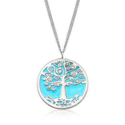 Italian Blue Enamel Tree of Life Pendant Necklace in Sterling Silver