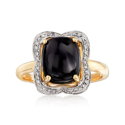 10x8mm Black Onyx and .10 ct. t.w. Diamond Ring in 14kt Yellow Gold, , default
