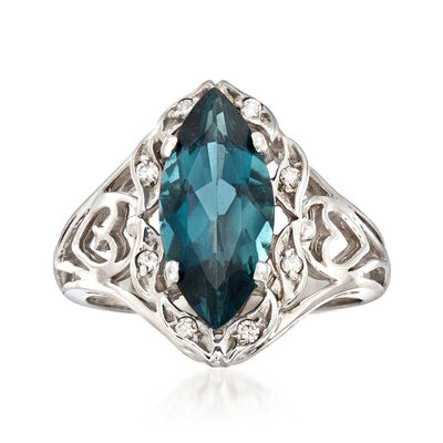 C. 1990 Vintage 3.00 Carat London Blue Topaz Ring With Diamond Accents in 10kt White Gold, , default