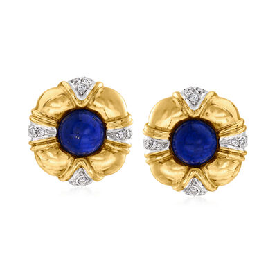 C. 1980 Vintage Tiffany Jewelry Lapis and .55 ct. t.w. Diamond Clip-On Earrings in 18kt Yellow Gold