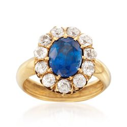 C. 1900 Vintage 3.40 Carat Sapphire and 1.10 ct. t.w. Diamond Ring in 18kt Yellow Gold. Size 6, , default
