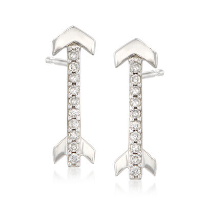 .10 ct. t.w. Diamond Arrow Earrings in 14kt White Gold