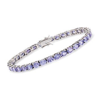 "9.50 ct. t.w. Tanzanite Tennis Bracelet in Sterling Silver. 7.25"", , default"
