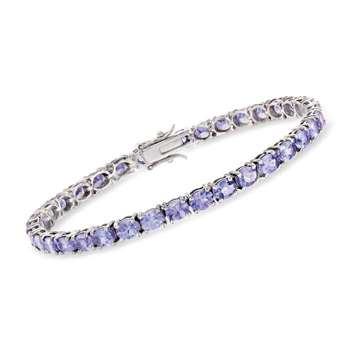 """9.50 ct. t.w. Tanzanite Tennis Bracelet in Sterling Silver. 7.25"""", , default"""