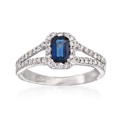 .70 Carat Sapphire and .65 ct. t.w. Diamond Ring in 14kt White Gold
