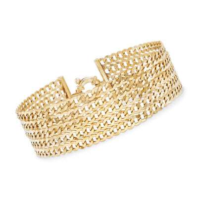 Italian Curb Link Multi-Strand Bracelet in 14kt Yellow Gold, , default