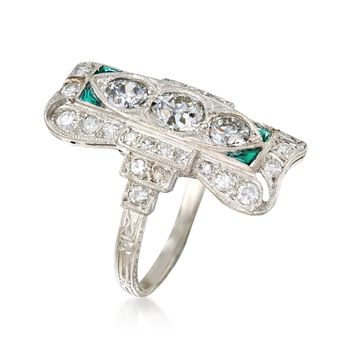 C. 1920 Vintage 1.75 ct. t.w. Diamond Dinner Ring with Synthetic Emerald Accents in Platinum. Size 7.5, , default