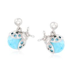 Larimar Ladybug Drop Earrings in Sterling Silver, , default