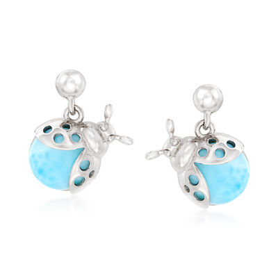Larimar Ladybug Drop Earrings in Sterling Silver, , default
