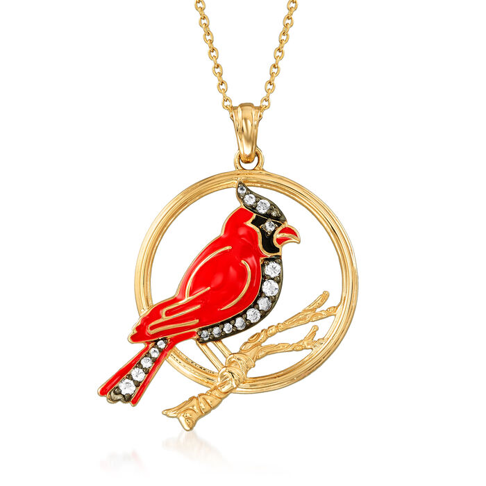 .90 ct. t.w. White Topaz and Enamel Cardinal Pendant Necklace in 18kt Gold Over Sterling