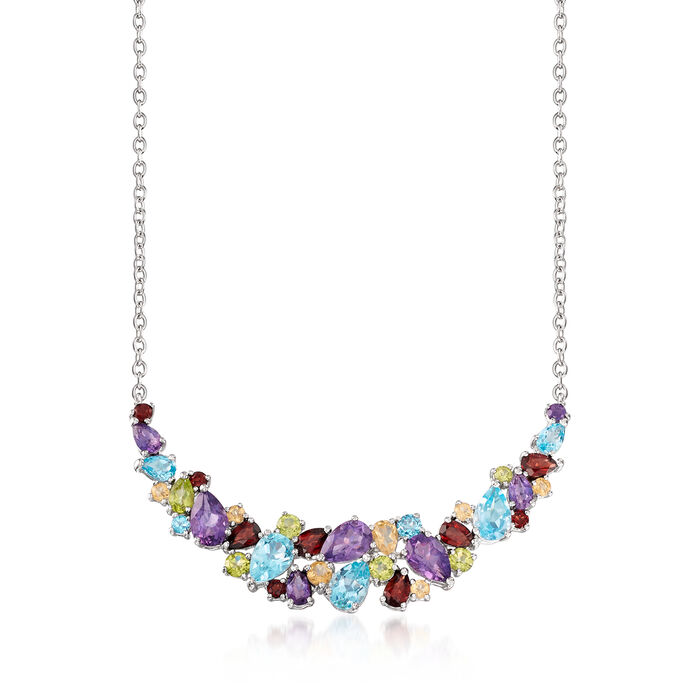 13.70 ct. t.w. Multi-Gem Cluster Necklace in Sterling Silver, , default