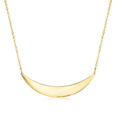 Italian 14kt Yellow Gold Curved Bar Necklace