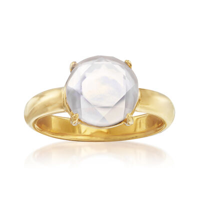 Mother-Of-Pearl and Rock Crystal Doublet Ring in 18kt Gold Over Sterling, , default