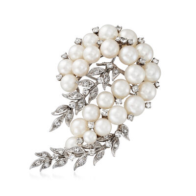 C. 1970 Vintage 4.5x7.5mm Cultured Pearl and 1.60 ct. t.w. Diamond Leaves Pin in 14kt White Gold, , default