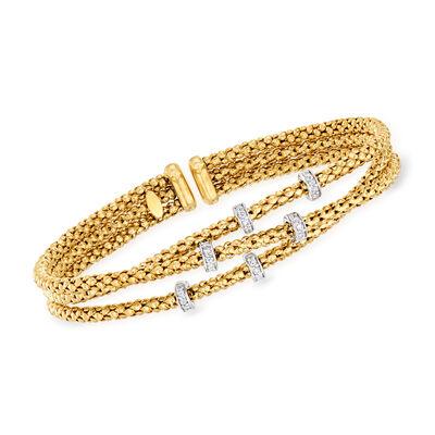 "Phillip Gavriel ""Popcorn"" .30 ct. t.w. Diamond Three-Strand Cuff Bracelet in 14kt Yellow Gold, , default"
